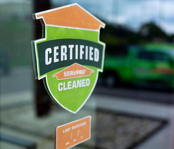 Certified: SERVPRO Cleaned Sticker Placed On Local Business